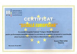 Certificat Scoala Europeana
